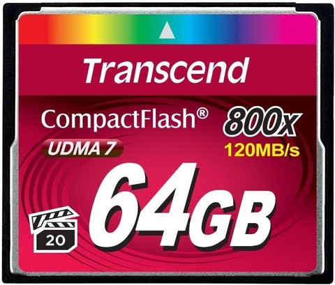 Transcend 64GB CompactFlash Card (CF) Premium 800X,