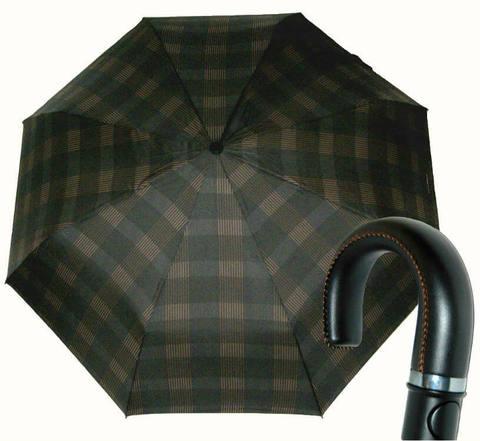 Купить онлайн Зонт складной Maison Perletti 16216-brown Scottish crook в магазине Зонтофф.