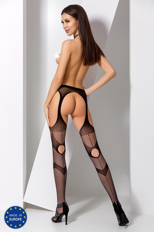 Красивые чулки сетка с поясом черные (Эротические чулки с поясом)