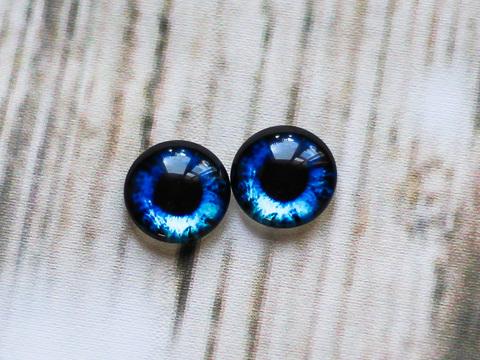 Глаза для игрушек, стеклянные кабошоны 14 мм, насыщенный синий