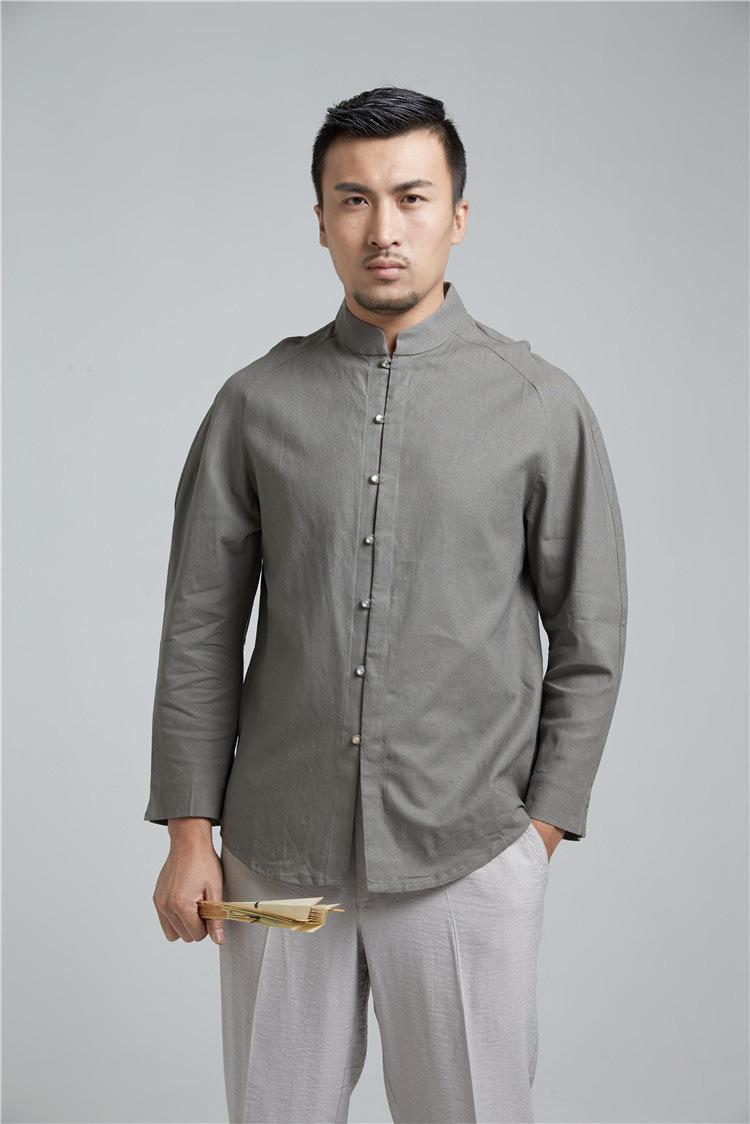 мужские рубашки Китайская традиционная мужская рубашка  с длинным рукавом 8514972604_1776495549.jpg