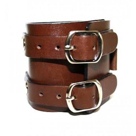 Широкий кожаный коричневый браслет напульсник Джони Деппа из натуральной кожи TRONIN N-25BR