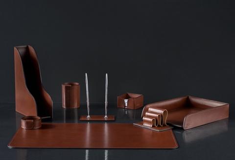 Настольный набор LUX 8 предметов , натуральная кожа Full Grain Toscana, Dk.Таn