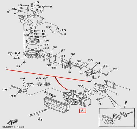 Карбюратор  для лодочного мотора T3S SEA-PRO (4-5-39)