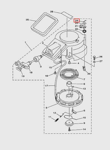 Штифт стопора включения скорости  для лодочного мотора T15, OTH 9,9 SEA-PRO (7-24)