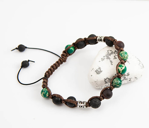 Мужской браслет шамбала из лавы, агата и яшмы