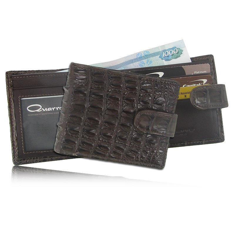 Мужской кошелек из кожи крокодила с хлястиком WR-120