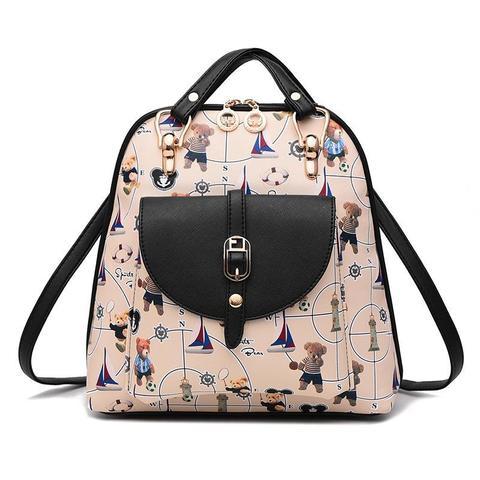 Средний стильный женский повседневный рюкзак коричневого цвета с рисунком из экокожи Dublecity 4698-1
