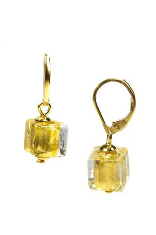 Серьги Perla Cubo золотистые