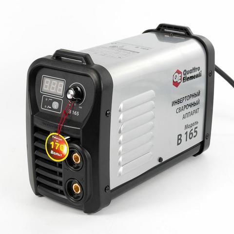 Аппарат электродной сварки, инвертор QUATTRO ELEMENTI B 165 (165 А, ПВ 80%, до 4.0 мм, 4.8 кг, Дисплей, TIG-Lift, от 160В, КЕЙС)