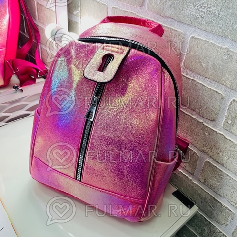 Рюкзак для девочки Голографический с переливами Малиновый