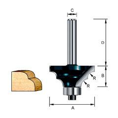 Фреза кромочная для двойной круглой кромки 28,6*32*12,7*8 мм; R=3,97 мм