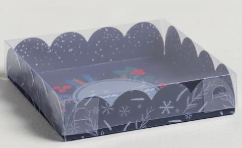 060-0107 Коробка для кондитерских изделий с PVC крышкой «Время чудес», 13 × 13 × 3 см