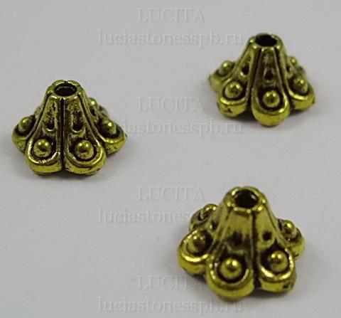 """Шапочка для бусины """"Колокольчик"""" 9х6 мм (цвет - античное золото), 10 штук"""