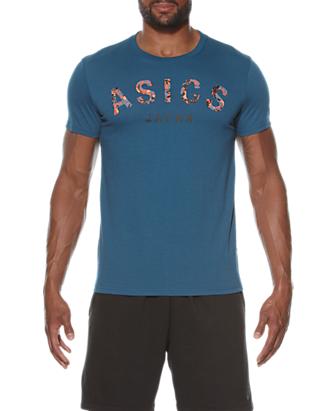 Мужская футболка с логотипом Asics Camou Logo SS Top (131529 0053) синяя фото