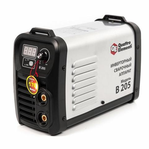 Аппарат электродной сварки, инвертор QUATTRO ELEMENTI B 205 (205 А, ПВ 80%, до 5.0 мм, 5.3 кг, Дисплей, TIG-Lift, от 160В, КЕЙС)