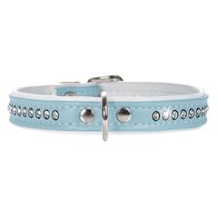 Ошейник для собак, Hunter Smart Modern Luxus, 24/11 (17-20,5 см) кожзам 1 ряд страз, голубой