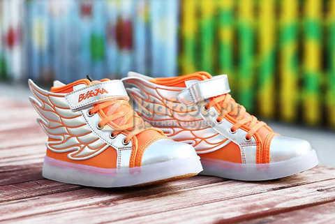 Светящиеся кроссовки с крыльями с USB зарядкой Бебексия (BEIBEIXIA), цвет оранжевый серебряный, светится вся подошва. Изображение 4 из 16.