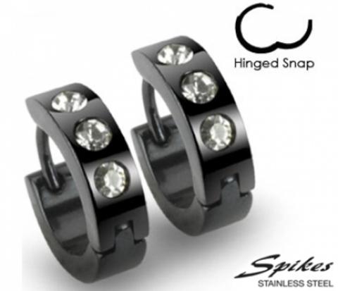 SE2006 Мужские серьги клипсы черного цвета с камнями, сталь,