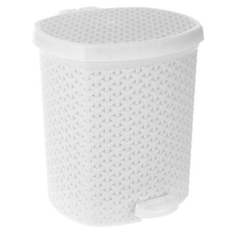 Контейнер для мусора 12л Плетенка с педалью белый