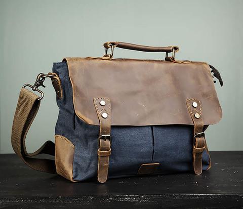 Мужской повседневный портфель из текстиля и кожи