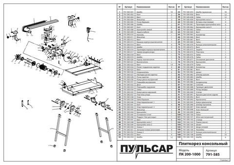 Плиткорез консольный ПУЛЬСАР ПК 200-1000 (1000Вт, диск 200x25.4мм, стол 385x690мм, пропил 32 мм, 34,5кг)