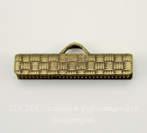 Винтажный концевик для лент 25 мм (оксид латуни)