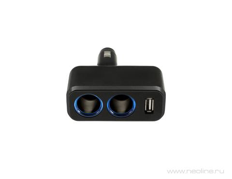 Разветвитель на два гнезда прикуривателя + 1 USB NEOLINE SL-210