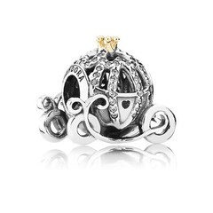 Disney Cinderella pumpkin coach silver charm with 14k and cubic zirconia