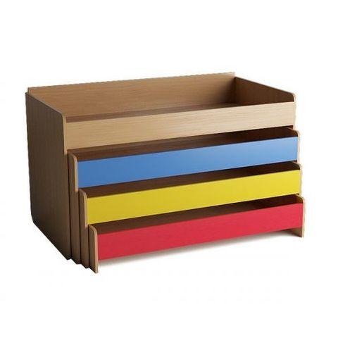 Кровать детская 4-х ярусная выкатная с тумбой, цветной фасад, настил фанера