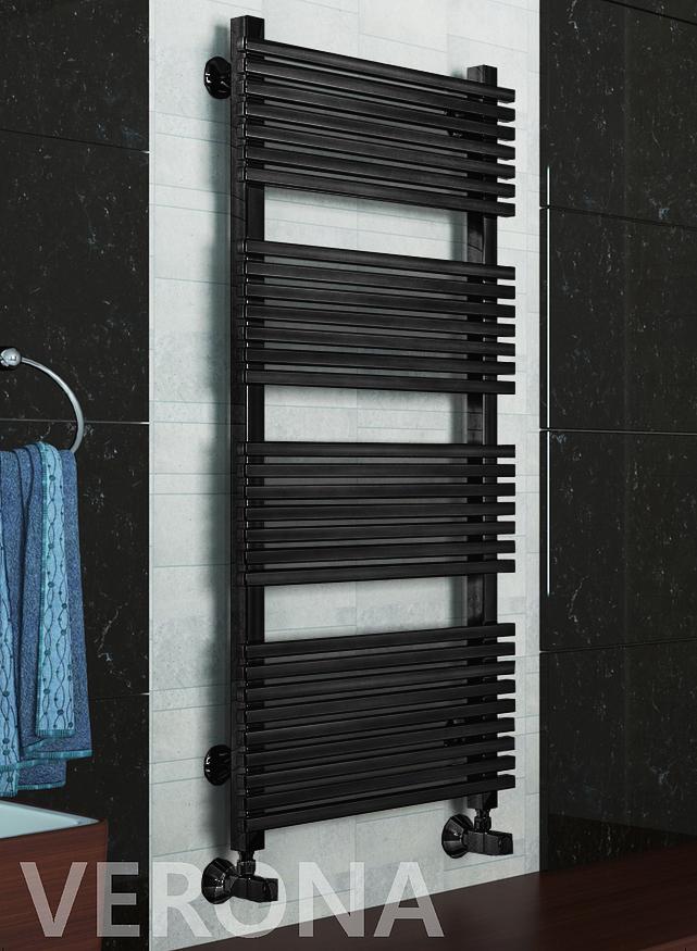 Verona E -  электрический дизайн полотенцесушитель черного цвета