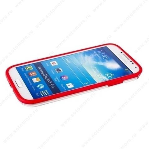 Бампер GRIFFIN для Samsung Galaxy S4 i9500/ i9505 красный с прозрачной полосой