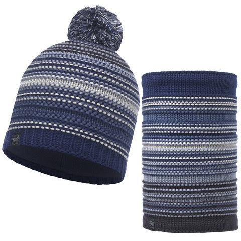 Комплект шапка шарф вязаный с флисом Buff Neper Blue Ink