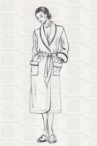 Лекала запашного халата с воротником шалька