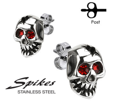 SSEM-106 Мужские серьги &#34Черепа&#34 с красными камнями, ювелирная сталь, &#34Spikes&#34