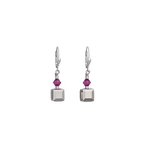 Серьги Coeur de Lion 4655 цвет серый, фиолетовый