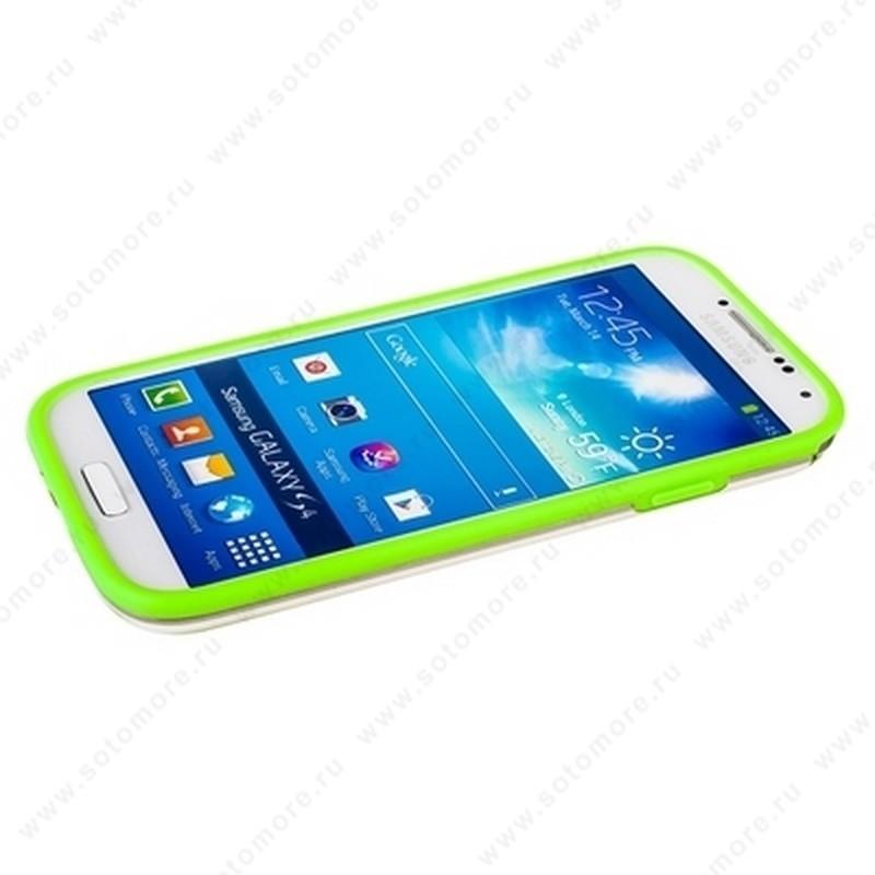 Бампер GRIFFIN для Samsung Galaxy S4 i9500/ i9505 салатовый с прозрачной полосой