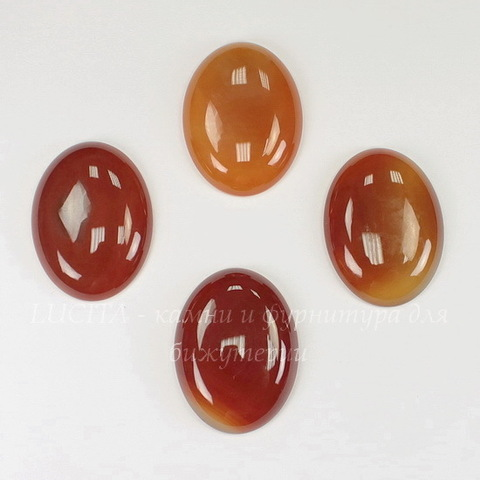 Кабошон овальный Агат Красно-оранжевый, 40х30 мм