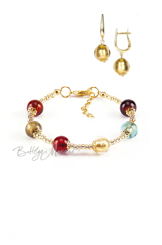 Комплект Carnavale Oro (золотистые серьги на серебре, браслет)
