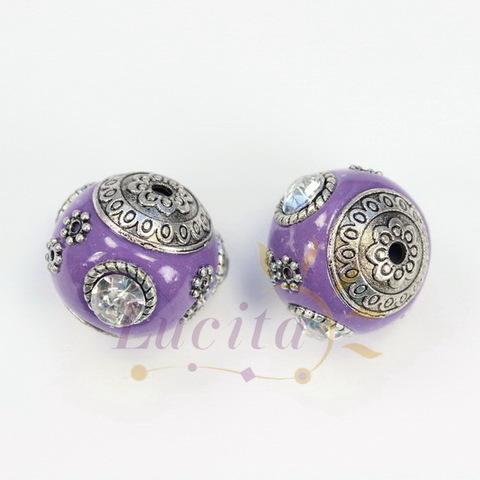 """Бусина """"Индонезийская"""" ручной работы фиолетовая с прозрачными стразами, 18 мм"""