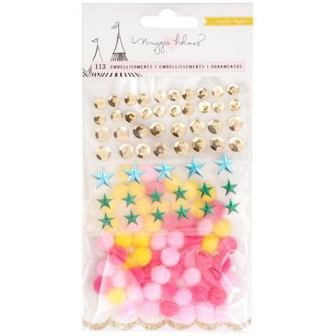 Набор украшений: пайетки, стразы, помпоны - Maggie Holmes Carousel Small Embellishments -113 шт