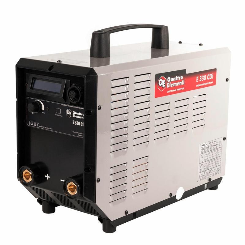 Аппарат электродной сварки, инвертор QUATTRO ELEMENTI E 330 (320 А, ПВ 100%, до 6 мм, Дисплей, TIG-Lift, 15 кг, 3ф-400В) (641-725)