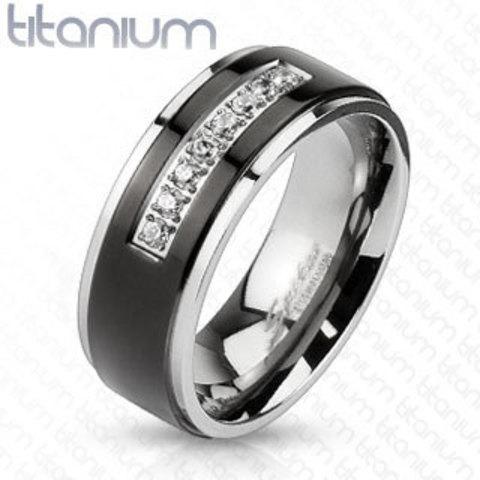 Титановое кольцо мужское с цирконами SPIKES R-TM-3212