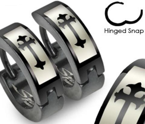 SSE-012 Мужские серьги черного цвета с крестом, ювелирная сталь, &#34Spikes&#34