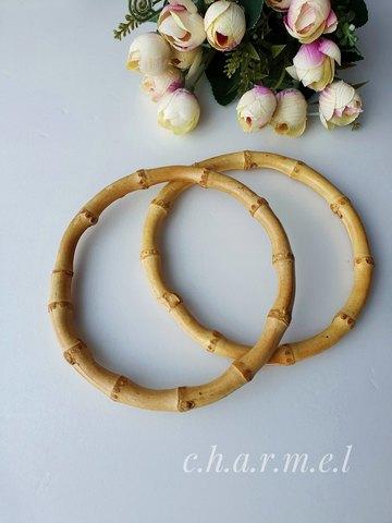 Набор ручек для сумки (2шт) диаметр 14 см, бамбук