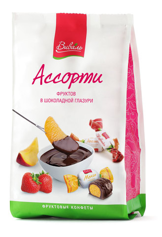 ВИВАЛЬ Ассорти фруктов в шоколадной глазури 180г