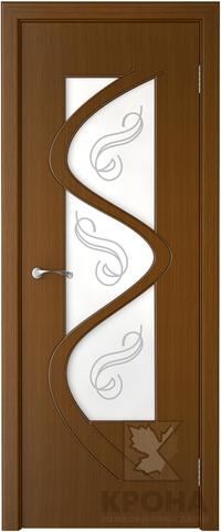 Дверь Крона Вега, стекло матовое с рисунком, цвет орех, остекленная