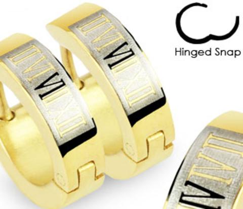 Узкие стальные серьги золотистого цвета с римскими цифрами