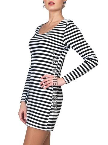 Платье с длинным рукавом в морском стиле (черная полоса)
