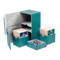 Ultimate Guard - Двойная кожаная бирюзовая коробочка с отделением для кубиков на 160 карт
